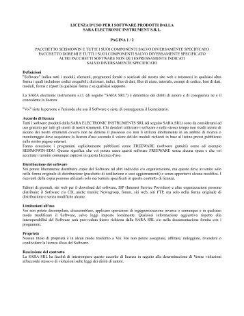 licenza d'uso per i software prodotti dalla sara electronic instrument ...