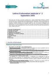 Lettre d'information médicale n° 2 Septembre 2005 - Medimmigrant
