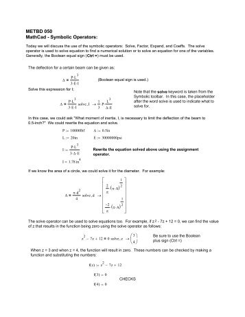 Mathcad - METBD 050 - MathCad -