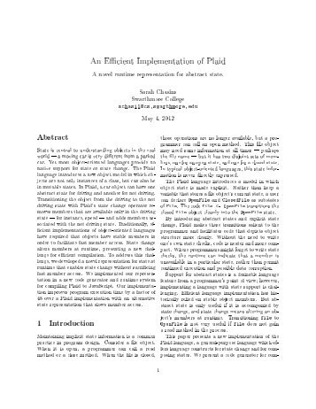 An E cient Implementation of Plaid - Swarthmore College Computer ...