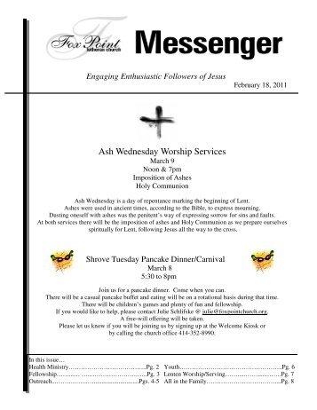 February 18, 2011 Messenger - Fox Point Lutheran Church