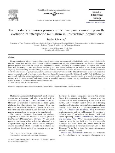 The iterated continuous prisoner's dilemma game ... - ResearchGate