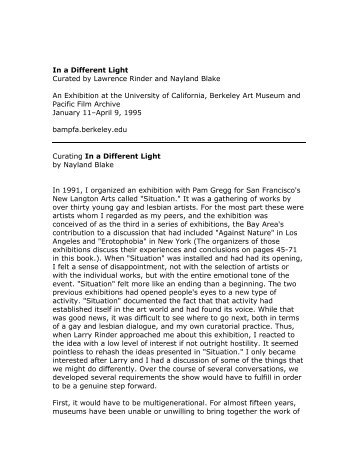 Curating In a Different Light by Nayland Blake (PDF) - Berkeley Art ...