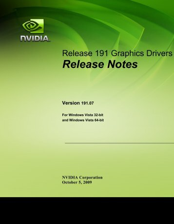 Release Notes for Windows Vista - Nvidia's Download site!!