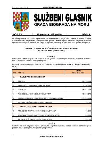 Službeni glasnik Grada Biograda na Moru - broj 9/12 - Grad Biograd ...