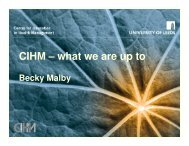 CIHM – what we are up to - Centre for Innovation in Health ...