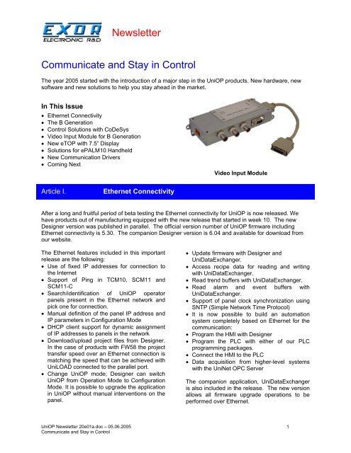 Exor UniOP - Newsletter 20 pdf - Esco Drives & Automation