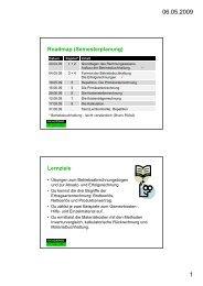 Roadmap (Semesterplanung) Lernziele