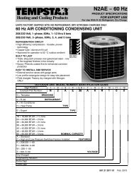 AC-N2AE**AKR/AHR, 60Hz Specifications