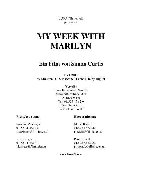 MY WEEK WITH MARILYN_Presseheft - Luna Filmverleih