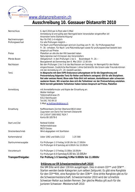 Ausschreibung 10. Gossauer Distanzritt 8. Mai 2010 - bei ...