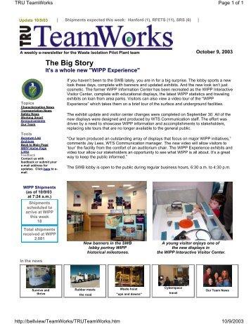 October 9 - Waste Isolation Pilot Plant