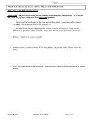PART II. CHEMICAL REACTIONS: AQUEOUS PROCESSES Name: