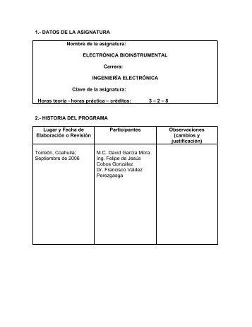 1.- DATOS DE LA ASIGNATURA Nombre de la asignatura ...