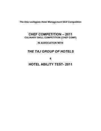 CHEF COMPETITION – 2011 THE TAJ GROUP ... - Christ University