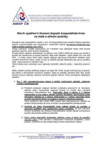 Návrh AMSP ČR vládě - Asociace malých a středních podniků a ...