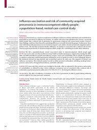 Influenza vaccine for community-acquired pneumonia