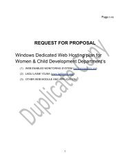 REQUEST FOR PROPOSAL Windows Dedicated Web Hosting plan ...