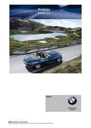 Ladda ner Den aktuella prislistan för BMW Z4 (PDF, 308kB).