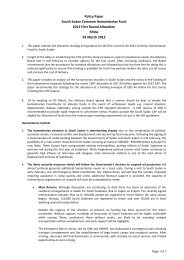 Southern Sudan inputs to CHF 2011 Policy Paper for 1st ... - OCHANet