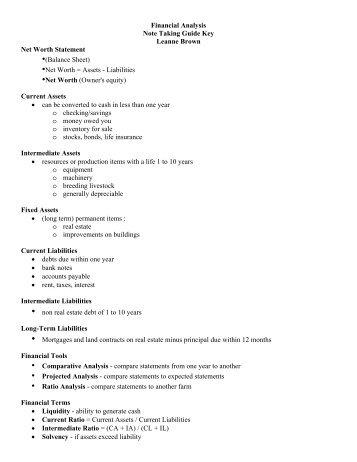 Financial Analysis - Agriscience.msu.edu
