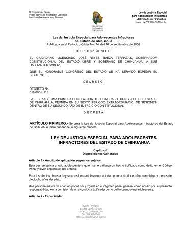 ley de justicia especial para adolescentes infractores del estado de ...