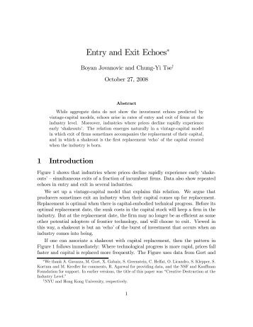 Entry and Exit Echoes∗ - New York University