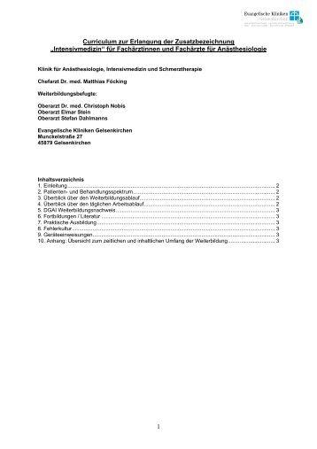 """Curriculum zur Erlangung der Zusatzbezeichnung """"Intensivmedizin"""""""