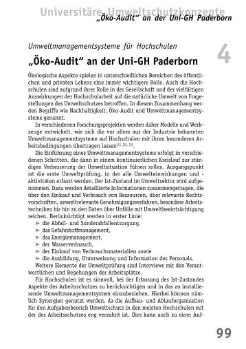 """Öko-Audit"" an der Uni-GH Paderborn - BuFaTa Chemie"