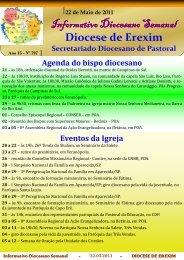 Informativo Semanal do dia 22 de Maio de 2011. - Diocese de Erexim