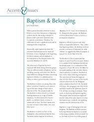 Baptism and Belonging - Brethren in Christ Church