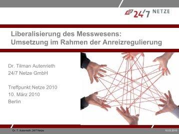 Das Zähl- und Messwesen in der Anreizregulierung - Treffpunkt Netze