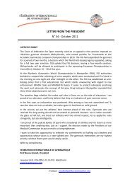 LETTER FROM THE PRESIDENT N° 54 - October 2011 - sportcentric