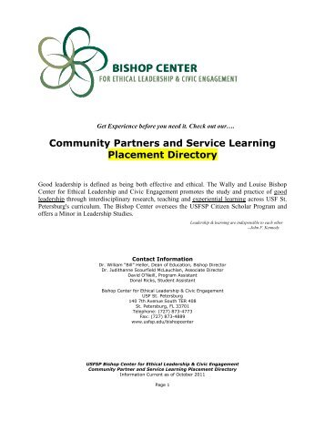 Community Partners and Service Learning Placement Directory