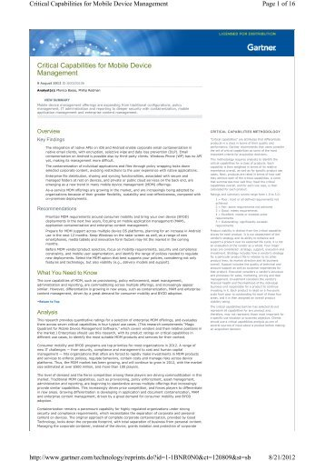 Critical Capabilities for Mobile Device Management - JevoTrust ...
