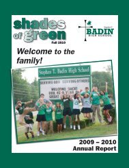 Welcome to the family! - Stephen T. Badin High School