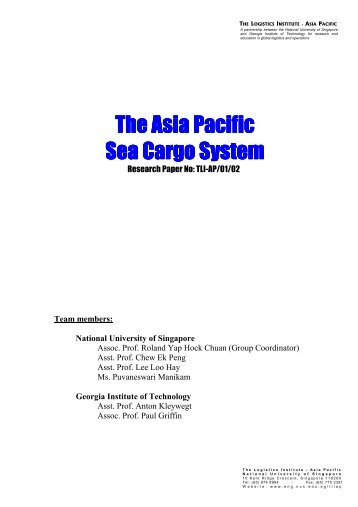 The Asia Pacific The Asia Pacific Sea Cargo System - The Logistics ...