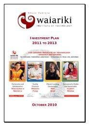 5 Initiatives 2011 to 2013 - Waiariki Institute of Technology