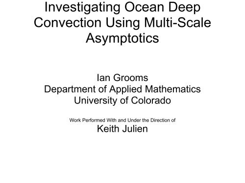 Investigating Ocean Deep Convection Using Multi-Scale ... - IMAGe
