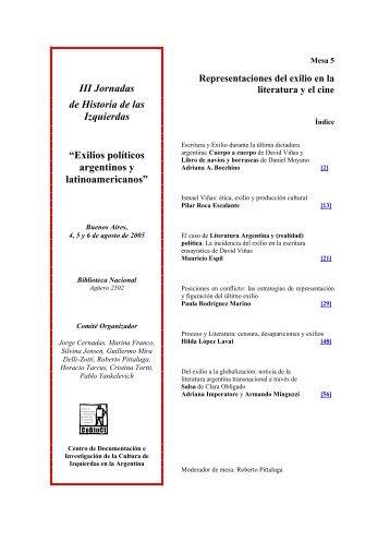 Mesa 5: Representaciones del exilio en la literatura y el ... - CeDInCI