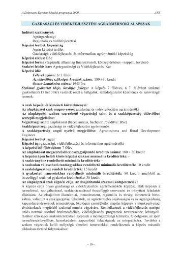 A szak képzési programja 2009-ben - Debreceni Egyetem Agrár