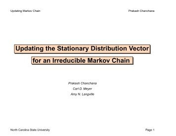 Updating Markov Chain - Carl Meyer - North Carolina State University