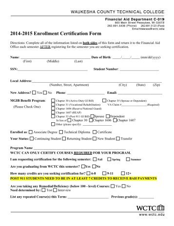 2013-2014 Enrollment Certification Form