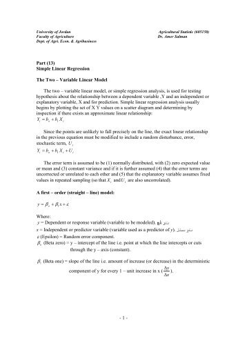 Part 13- Simple linear regression - The University of Jordan