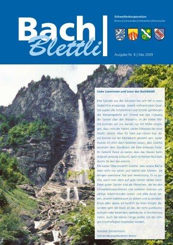 Ausgabe Nr. 8 | Mai 2009 - schwellenkorporationen.ch