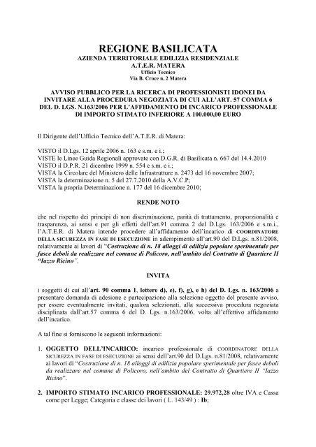 Avviso Pubblico procedura negoziata - ATER MATERA