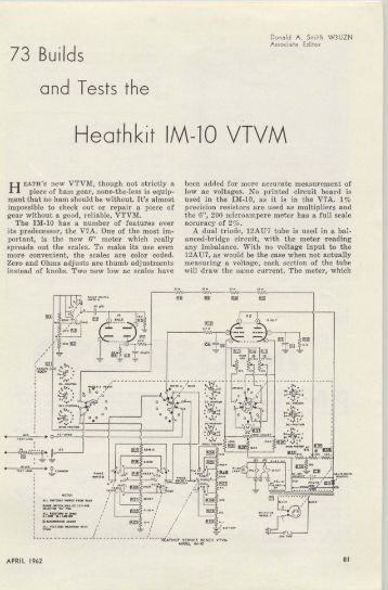 73 Tests the Heathkit IM-10 VTVM - Nostalgic Kits Central