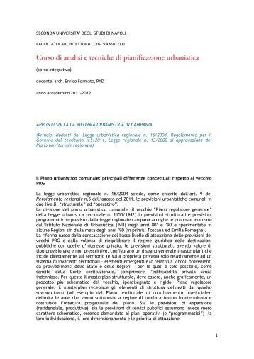 Appunti legislazione urbanistica Campania - Facoltà di Architettura ...
