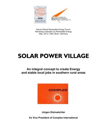 SOLAR POWER VILLAGE - Second World Renewable Energy Forum