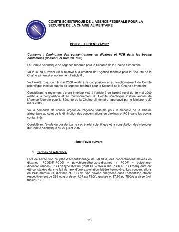 comite scientifique de l'agence federale pour la securite de la - Favv
